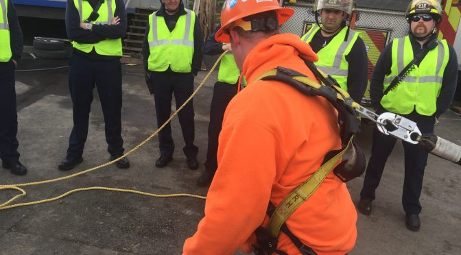 Firefighters Work with Construction Company on Rescue Procedures