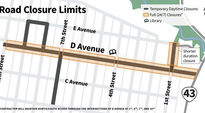D Avenue Full Road Closure Starts Next Week