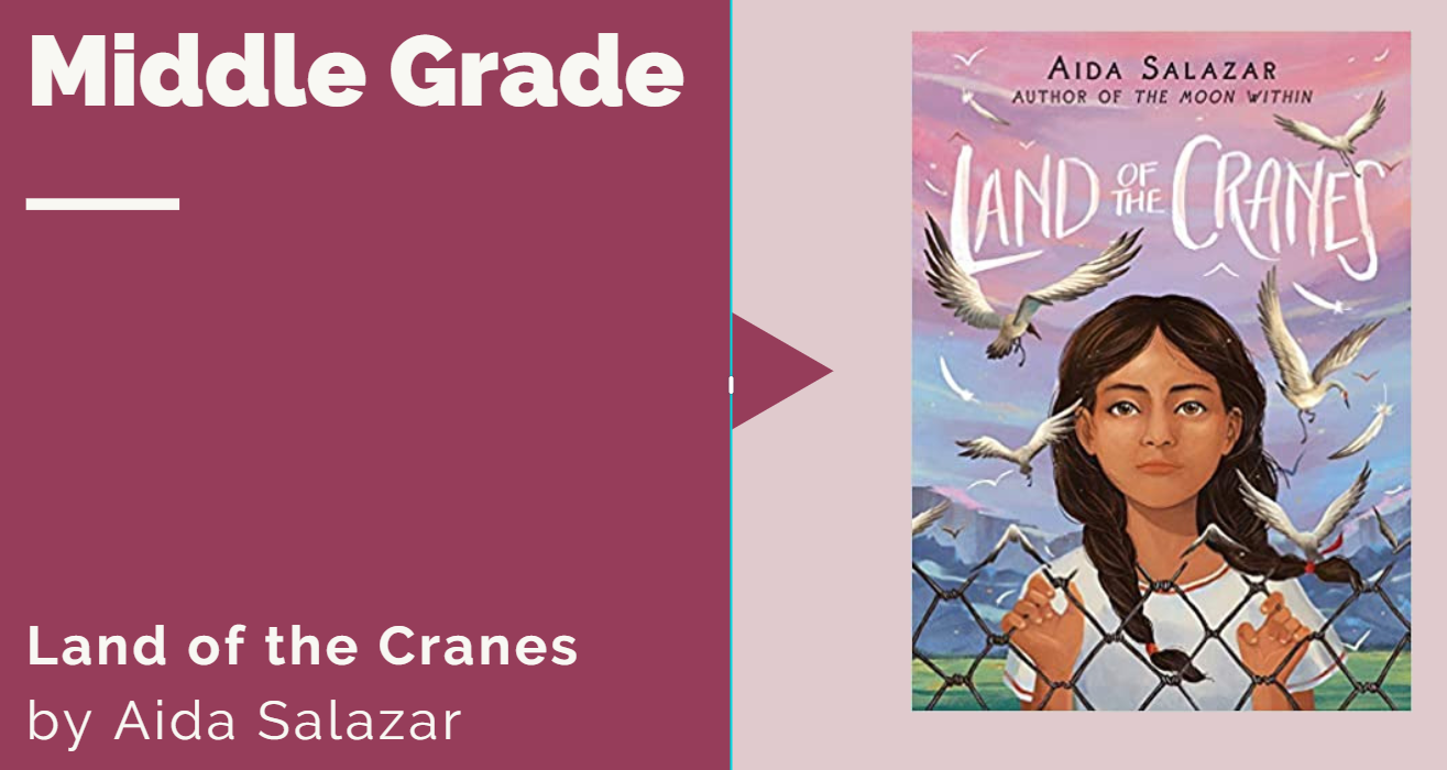 """book cover with title """"Land of Cranes"""" by Aida Salazar"""