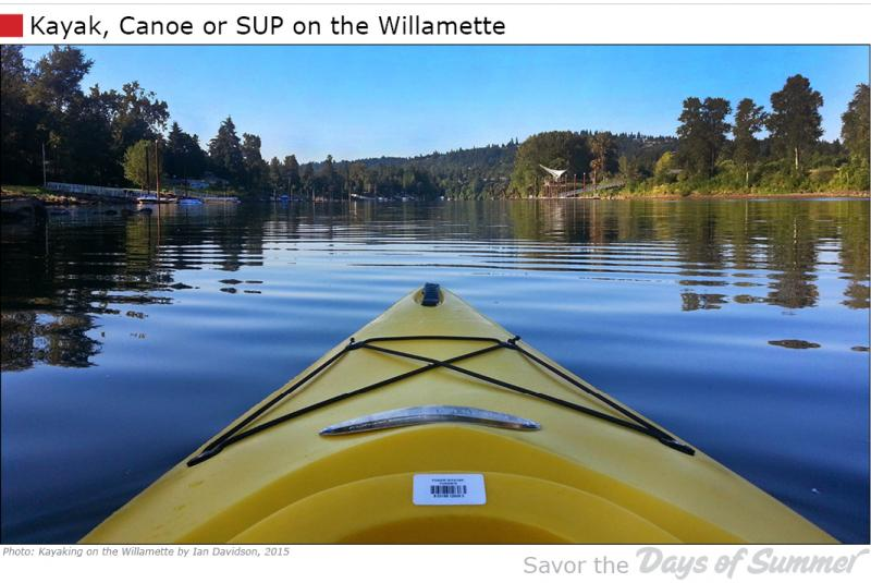 Enjoy the Willamette River in a Kayak, Canoe or SUP