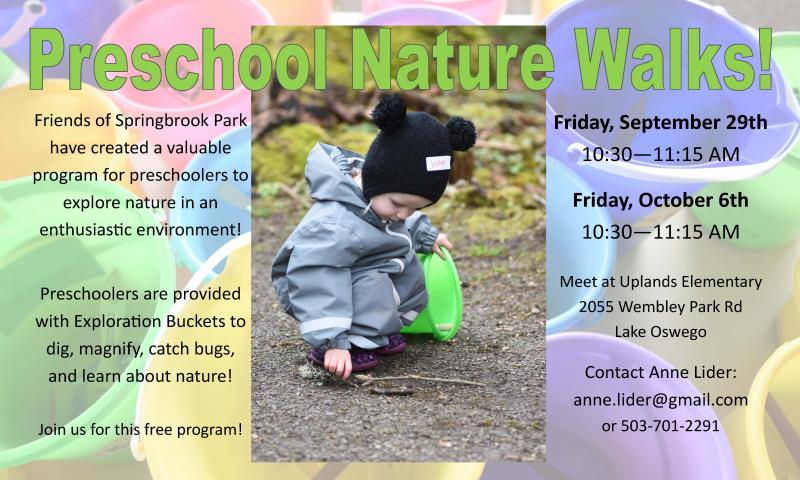 springbrook park preschool nature walk city of lake oswego