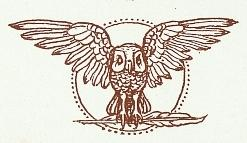 Flying Owl Bookplate Illustration