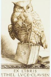 Owl with Dead Rodent Perched on Book:  Bookplate Illustration