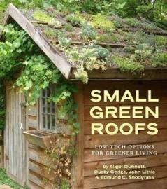 book cover; a small shed with plant growing on roof