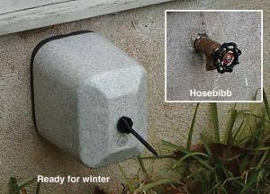 Wrap outside faucets or hose bibs with insulation