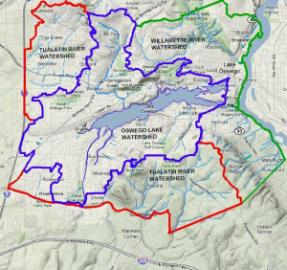 Oswego Lake watershed map