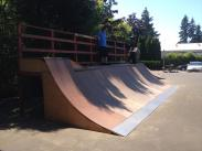4 foot quarterpipe refinished in 2014. New addition of 5ft extension and wedge