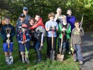 Cub Scouts and Leaders Help at Hallinan Heights Woods