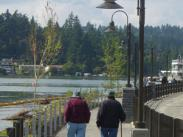 Couple walking on Headlee Walkway