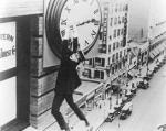 Buster Keaton Hangs from Clock