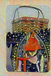 Young Woman Wearing Red Hood, Basket in Background