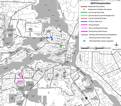 Map of 2019 paving construction projects in Lake Oswego.