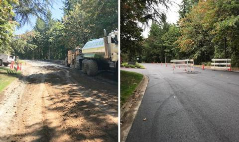 Same location on Jefferson Parkway, before and after repaving