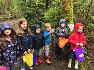 preschoolers on a nature walk